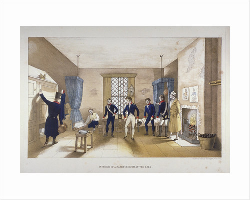 Scene in a barrack room at the Royal Military Academy, Woolwich, Kent by Anonymous
