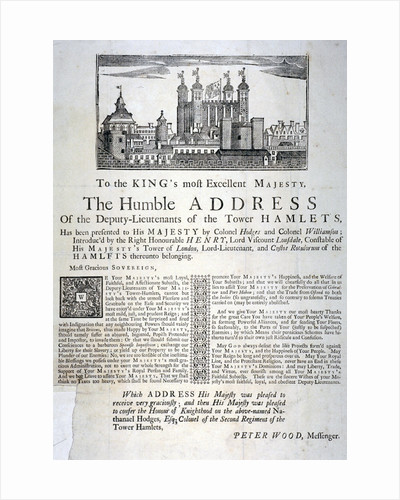 Address to the King of England from the deputy lieutenants of Tower Hamlets by Anonymous
