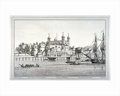 South view of the Tower of London with boats on the River Thames by Joseph Constantine Stadler