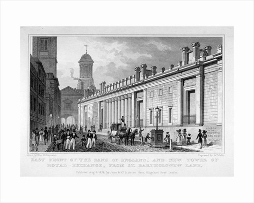 The Bank of England and new tower of the Royal Exchange, City of London by W Wallis
