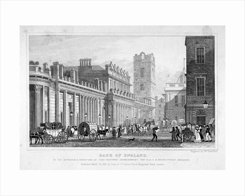 The Bank of England, City of London by William Tombleson