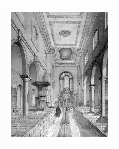 Interior of St Bartholomew-by-the-Exchange, City of London by Nathaniel Whittock