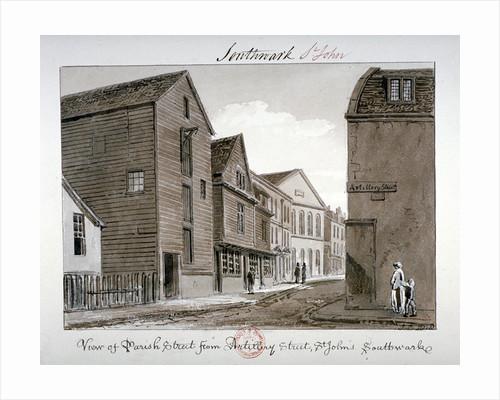 View of Parish Street and Artillery Street, Bermondsey, London by John Chessell Buckler