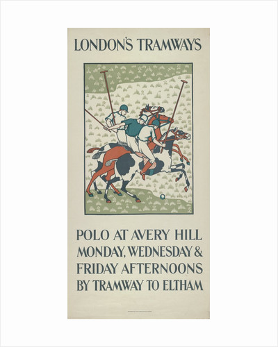 Polo at Avery Hill, London County Council (LCC) Tramways poster by Howard Spear