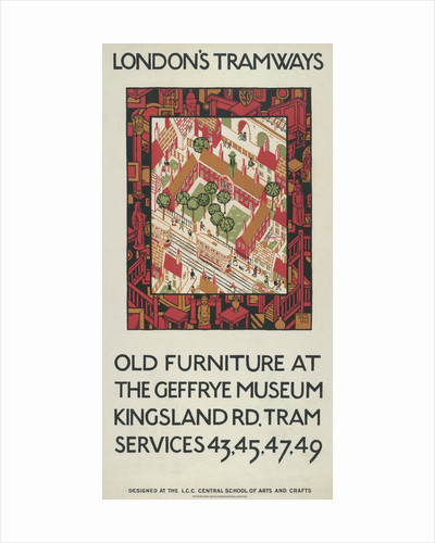 Old Furniture At The Geffrye Museum, London County Council (LCC) Tramways poster by