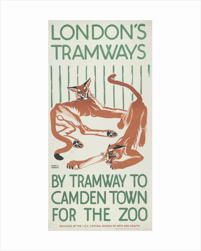 By Tramway to Camden Town for the Zoo, London County Council (LCC) Tramways poster by Mary I Wright