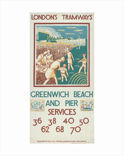 Greenwich Beach and Pier, London County Council (LCC) Tramways poster by Morris Kestelman