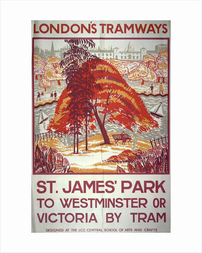 St James' Park to Westminster or Victoria by Tram, London County Council Tramways poster by Anonymous