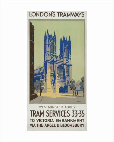 Westminster Abbey, London County Council (LCC) Tramways poster by GM Norris