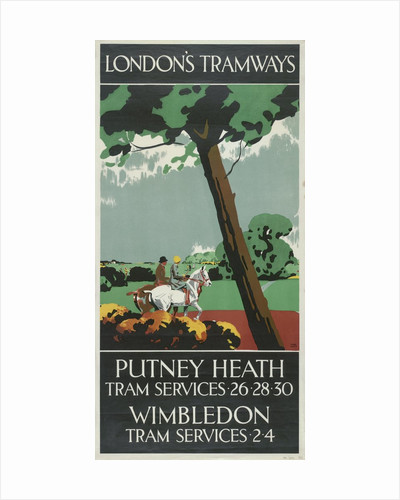 Putney Heath, Wimbledon, London County Council (LCC) Tramways poster by Tony Castle