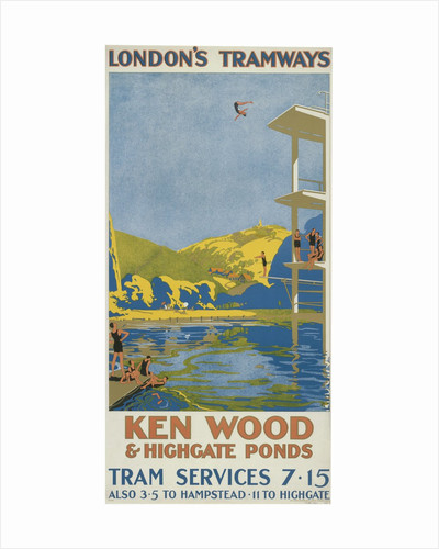 Kenwood and Highgate Ponds, London County Council (LCC) Tramways poster by Van Jones