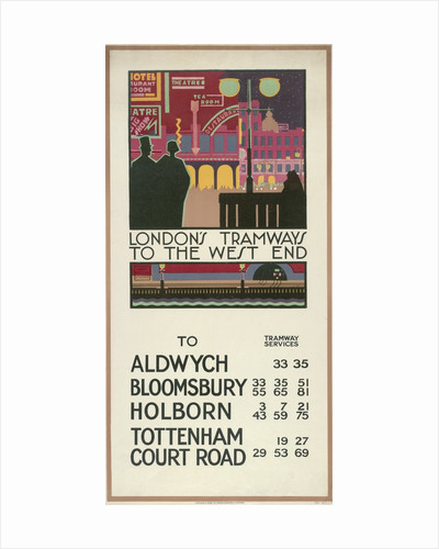 London's Tramways to the West End, London County Council (LCC) Tramways poster by P Irwin Brown