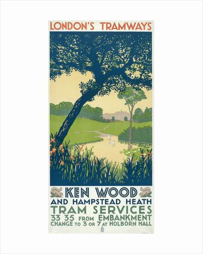 Kenwood and Hampstead Heath, London County Council (LCC) Tramways poster by Ralph & Brown Studios