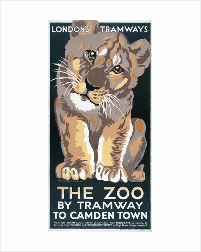 The Zoo by Tramway to Camden Town, London County Council (LCC) Tramways poster by Anonymous