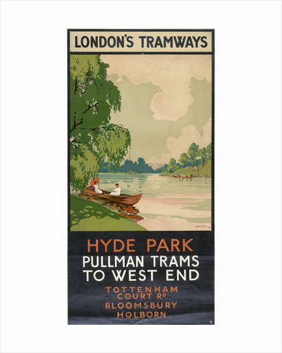 Hyde Park, Pullman Trams to West End, London County Council (LCC) Tramways poster by A Kerim
