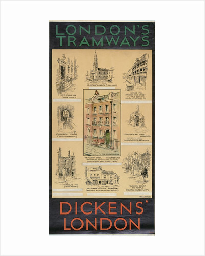 Dickens' London, London County Council (LCC) Tramways poster by Will Owen