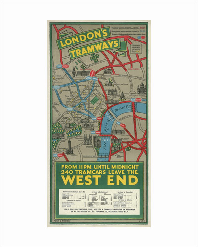 West End Tramways, London County Council (LCC) Tramways poster by Frank G Jeffries