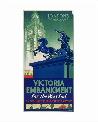 Victoria Embankment, London County Council (LCC) Tramways poster by RF Fordred
