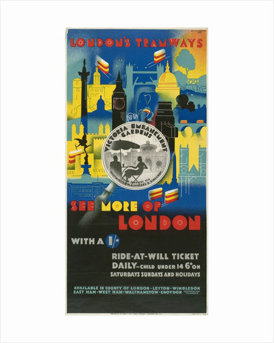 See More of London with a Shilling, London County Council (LCC) Tramways poster by GW Widmer