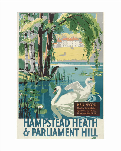 Hampstead Heath and Parliament Hill, London County Council (LCC) Tramways poster by RF Fordred