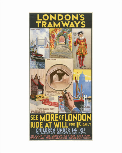 See More of London, London County Council (LCC) Tramways poster by GE Butler