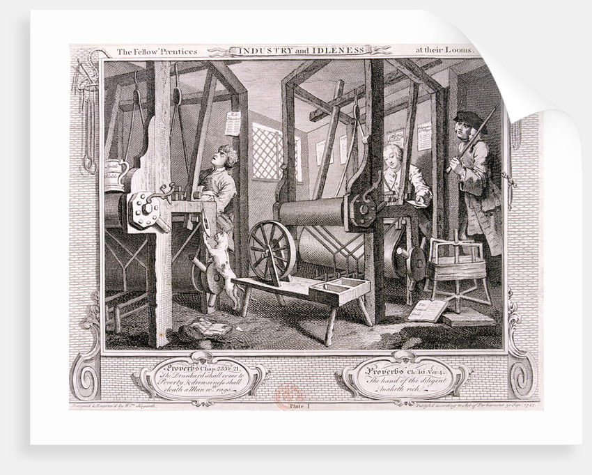 The fellow 'prentices at their looms', plate I of Industry and Idleness by