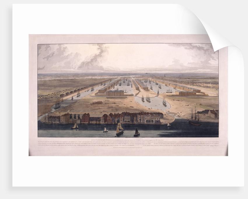 West India Docks, Poplar, London by William Daniell
