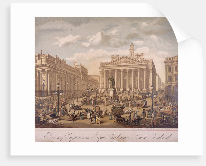 Bank of England and Royal Exchange, London by F Appel