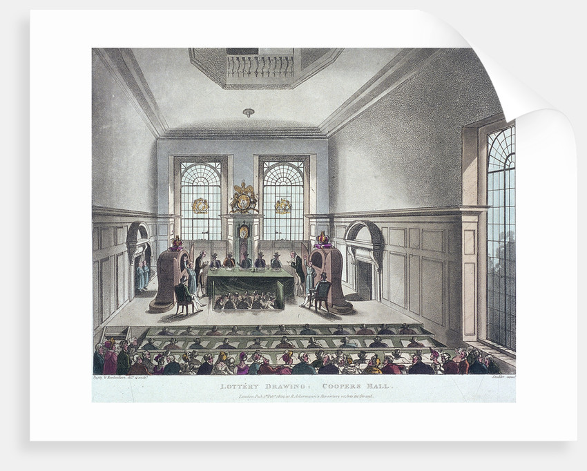 Drawing of the State Lottery, Coopers' Hall, London by Joseph Constantine Stadler