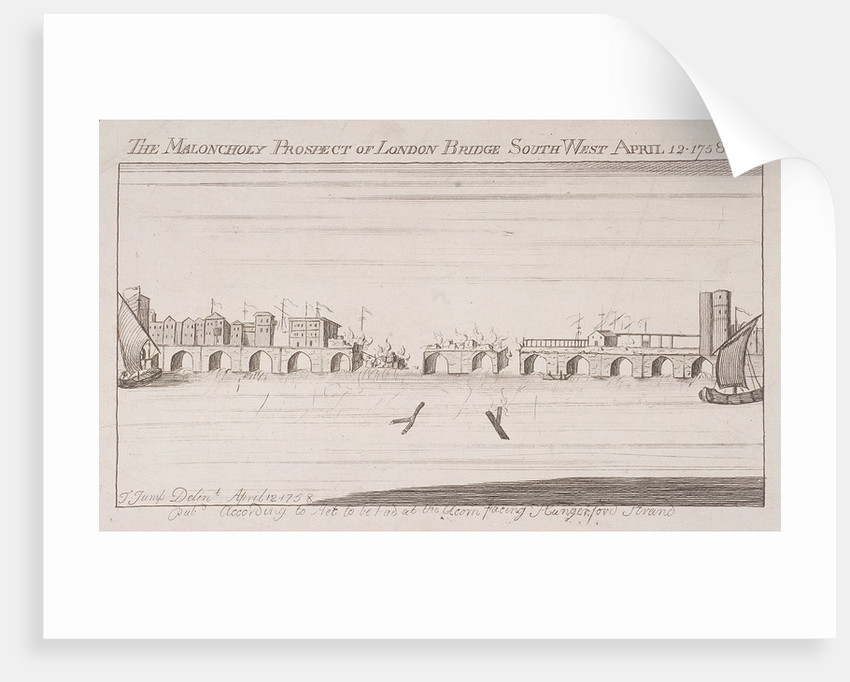London Bridge (old), London, 1758 by Anonymous