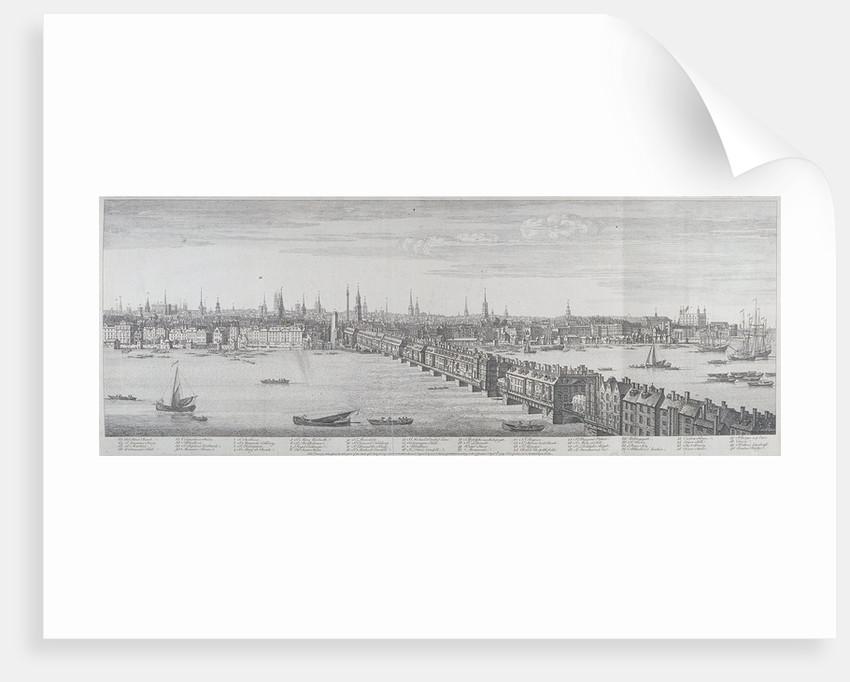 London Bridge (old), London by Samuel Buck