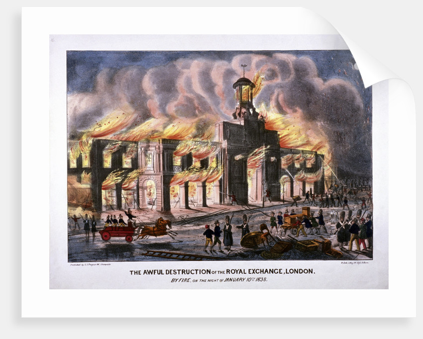 Royal Exchange (2nd) fire, London by W Clerk