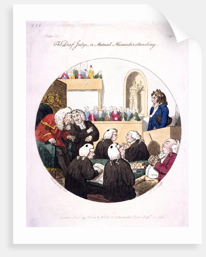 The deaf judge, or mutual misunderstanding, Old Bailey, London by Isaac Cruikshank