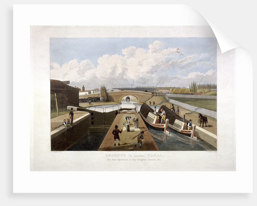 Regent's Canal, with barges, Islington, London by John Cleghorn