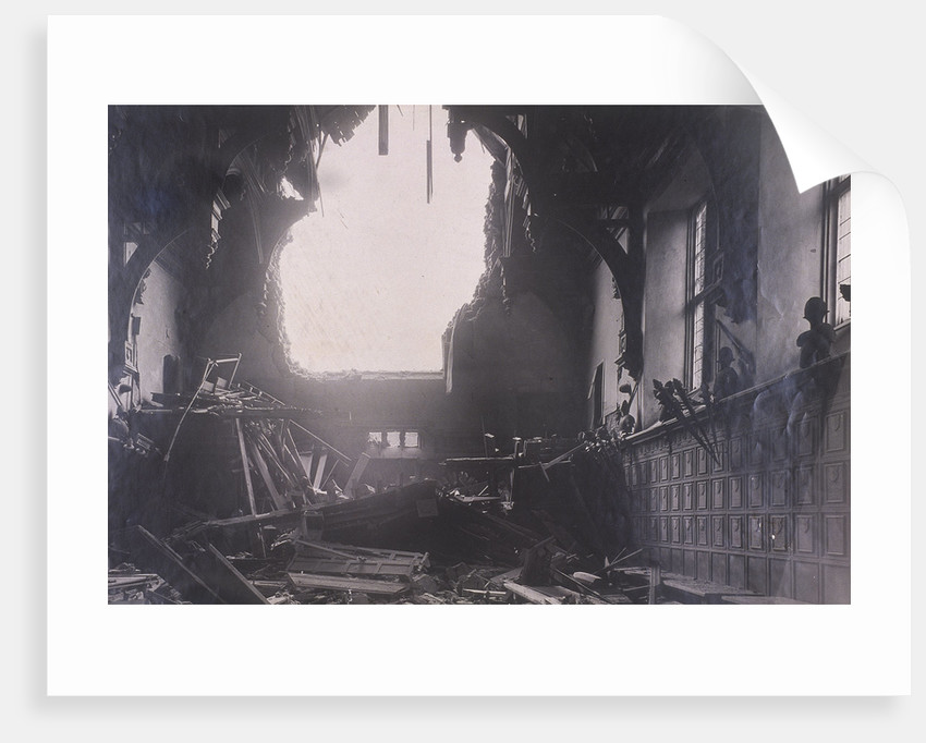 Interior view of Middle Temple Hall, City of London, after an air raid by Anonymous