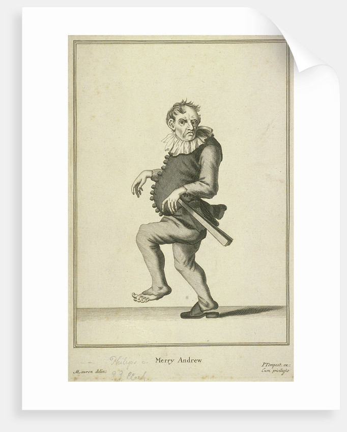 Merry Andrew, possibly a jester or fool, Cries of London, (c1688?) by Pierce Tempest