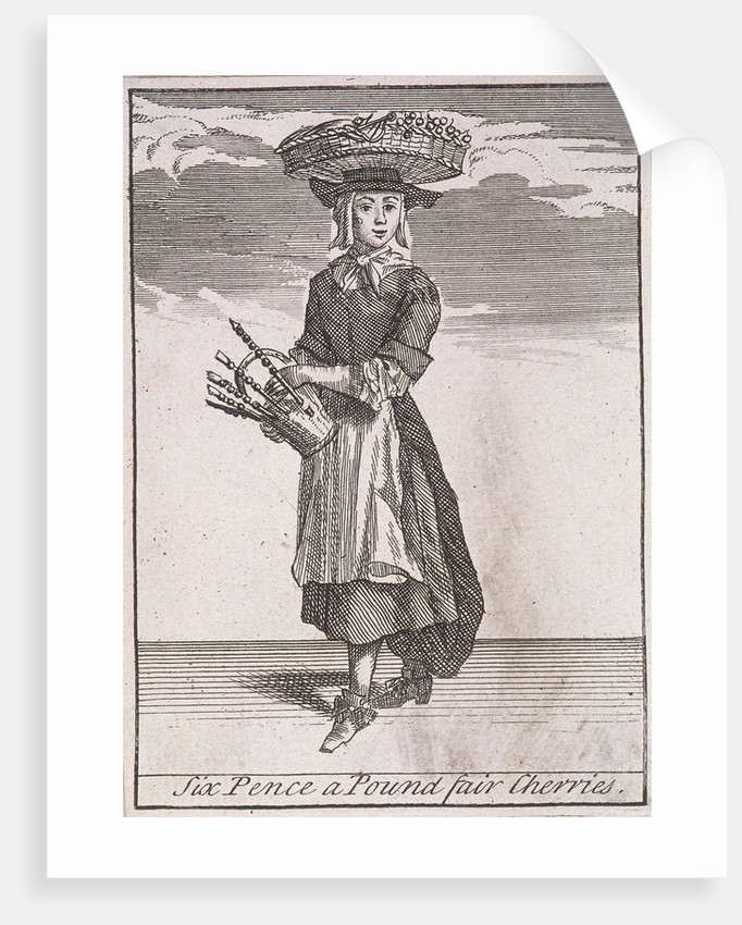 Six Pence a Pound fair Cherries, Cries of London, (c1688?) by