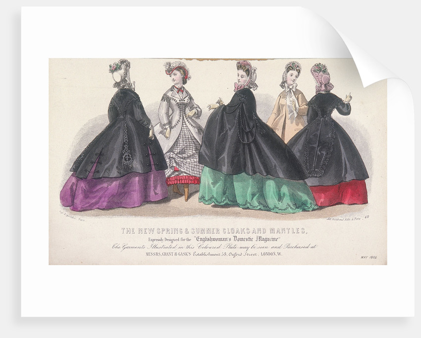 Five women wearing spring and summer coats and mantles by Anonymous
