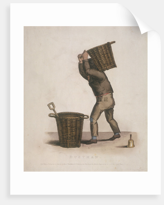 Dustman carrying a basket of refuse on his back by Thomas Lord Busby
