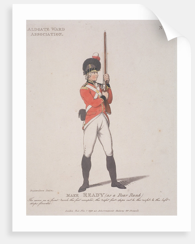 Member of the Aldgate Ward Association holding a rifle by