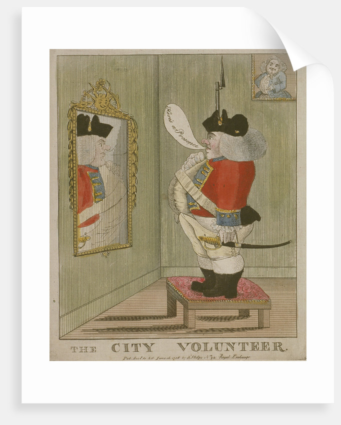 View of a portly City volunteer admiring himself in the mirror by