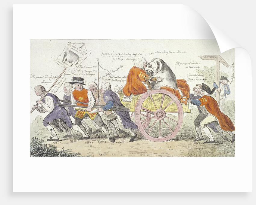The Corporation hog's journey to Smithfield in stile or aldermen turned pig show men. by Isaac Cruikshank