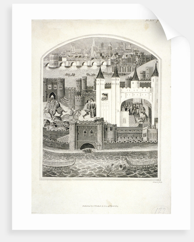 Charles duc d'Orleans imprisoned in the Tower of London with London Bridge in the background by James Basire II