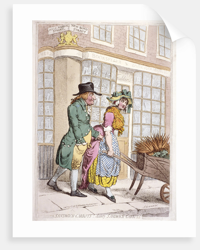 A leering man making advances to a girl, New Bond Street, Westminster, London by James Gillray