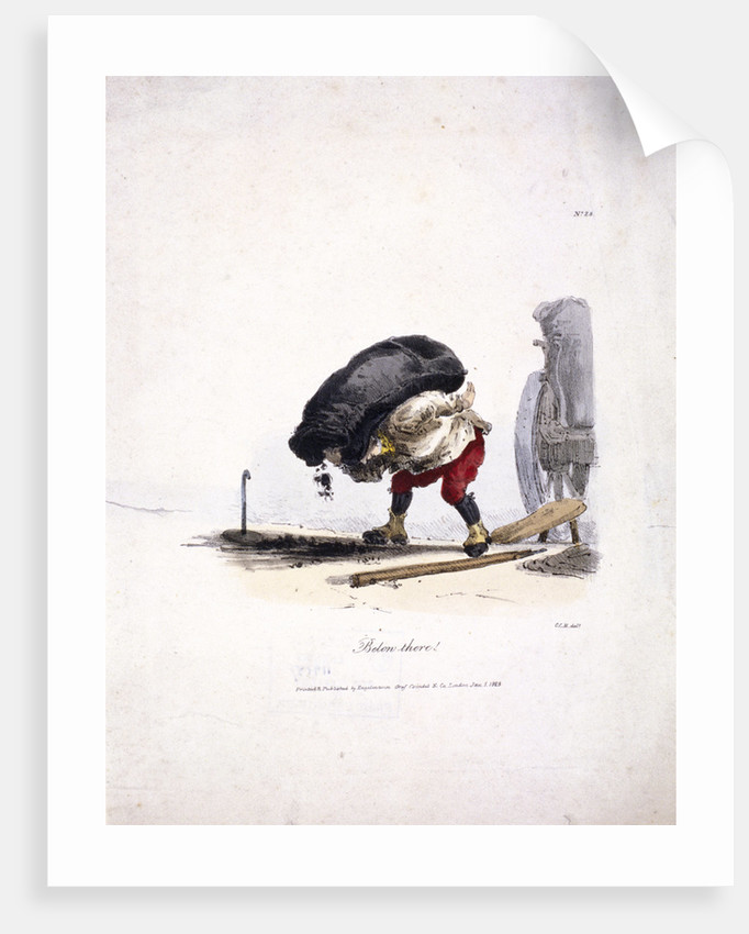 View of a coalman removing a heavy sack of coal from his cart by Engelmann