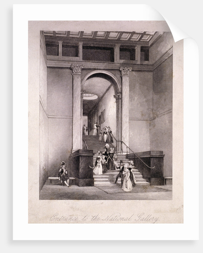 Entrance to the National Gallery in Trafalgar Square, Westminster, London by
