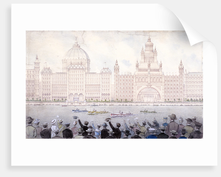 Boat race on the River Thames for the August bank holiday, London by Anonymous