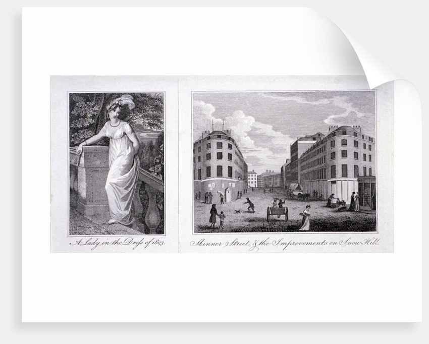 Woman in a dress and London street scene by Anonymous