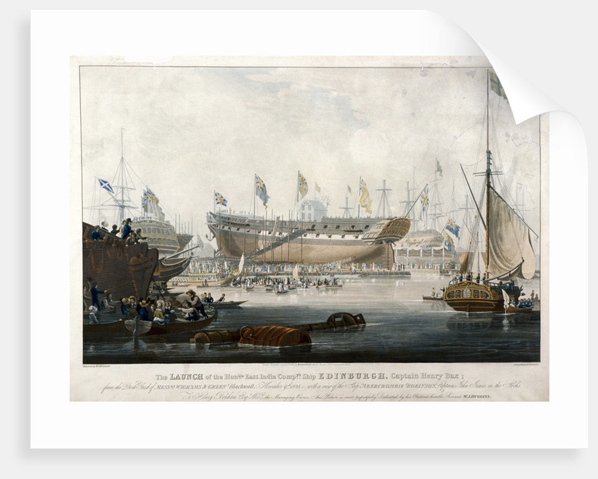 Launch of the East India Company's ship, the 'Edinburgh' in 1825 by Edward Duncan