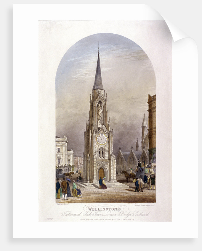 Wellington Clock Tower at the southern end of Southwark Bridge, London by TH Ellis